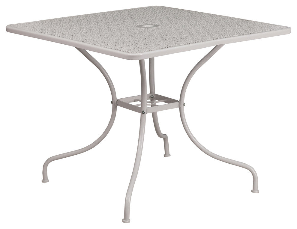 "Commercial Grade 35.5"" Square Light Gray Indoor-Outdoor Steel Patio Table"