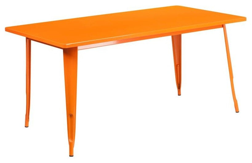 "Commercial Grade 31.5"" x 63"" Rectangular Orange Metal Indoor-Outdoor Table"