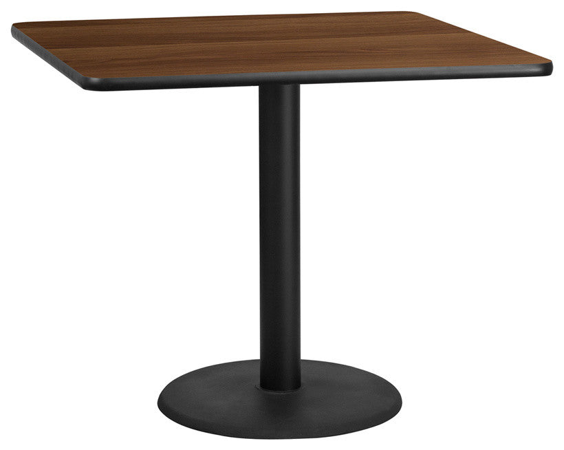 42'' Square Walnut Laminate Table Top with 24'' Round Table Height Base