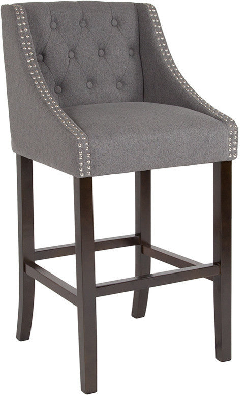 "Flash Furniture Carmel Series 30"" High Transitional Tufted Walnut Barstool with Accent Nail Trim in Dark Gray Fabric - Pot Racks Plus"