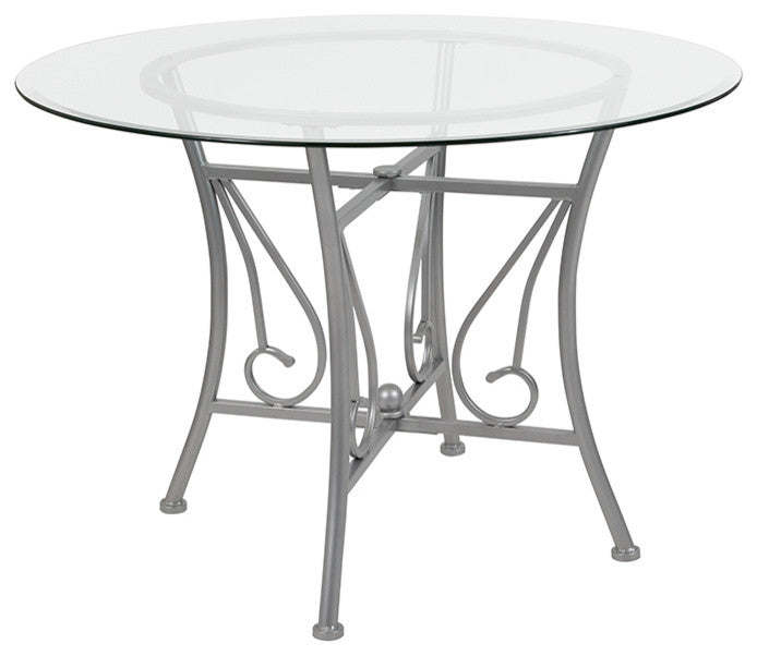 Flash Furniture Princeton 42'' Round Glass Dining Table with Silver Metal Frame - Pot Racks Plus