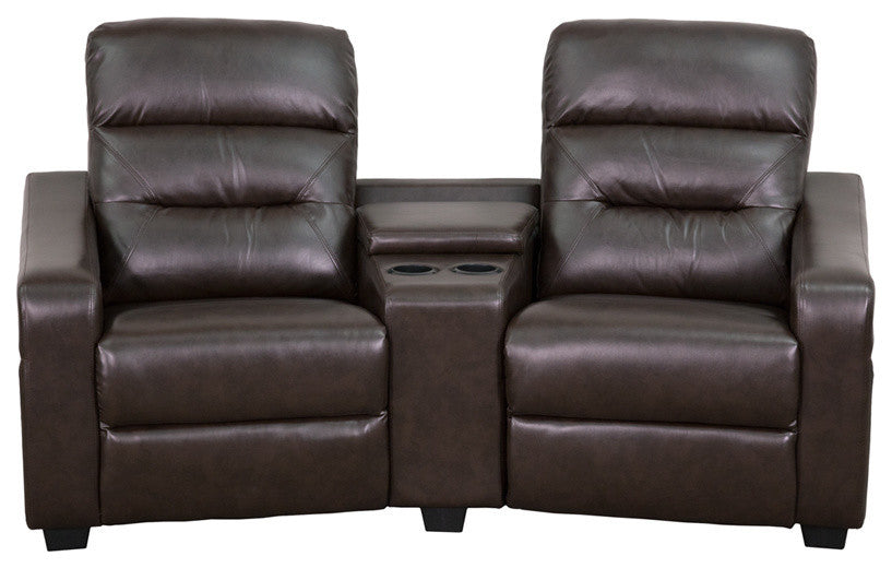 Flash Furniture   Futura Series 2-Seat Reclining Brown LeatherSoft Theater Seating Unit with Cup Holders - Pot Racks Plus