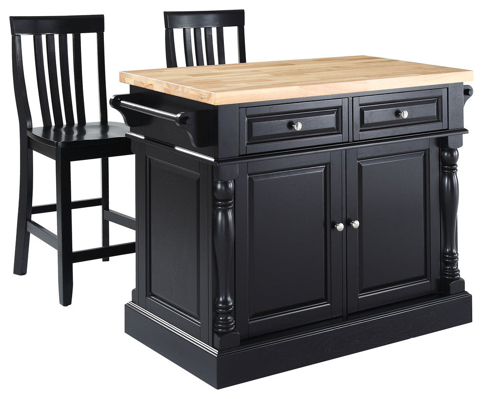 "Butcher Block Top Kitchen Island, Black Finish With 24"" Black School House Sto - Pot Racks Plus"