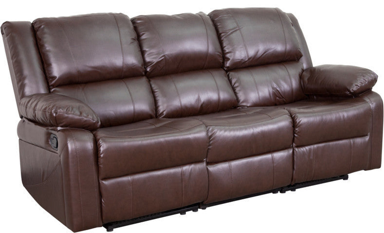 Flash Furniture   Harmony Series Brown LeatherSoft Sofa with Two Built-In Recliners - Pot Racks Plus