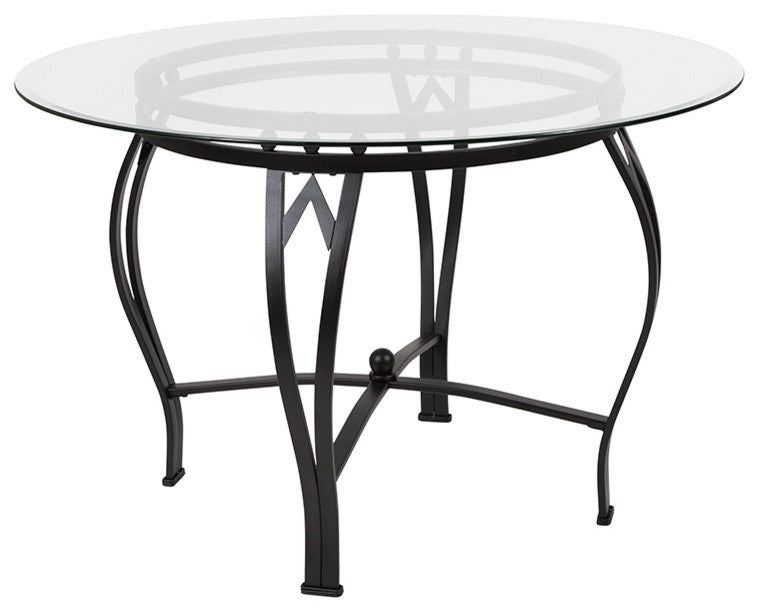Flash Furniture Syracuse 45'' Round Glass Dining Table with Black Metal Frame - Pot Racks Plus