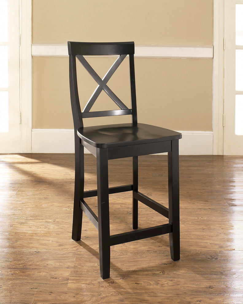 "X-Back Barstool, Black Finish With 24"" Seat Height - Pot Racks Plus"