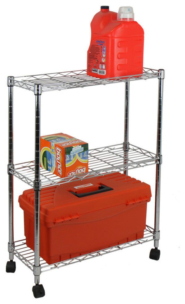 3-Tier Shelving All-Purpose Utility Cart, Chrome - Pot Racks Plus