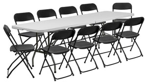8' Bi-Fold Granite White Plastic Event/Training Folding Table Set with 10 Folding Chairs