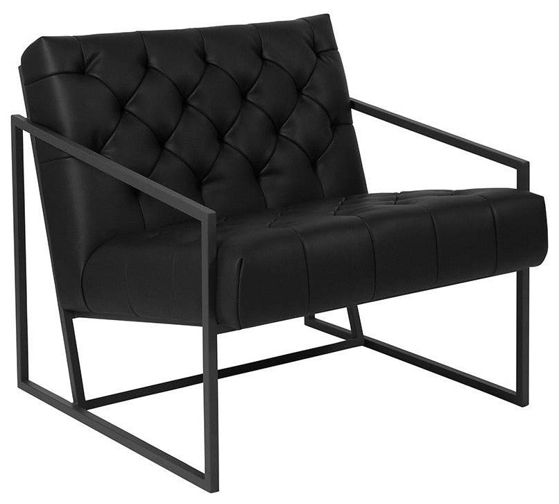 HERCULES Madison Series Black LeatherSoft Tufted Lounge Chair