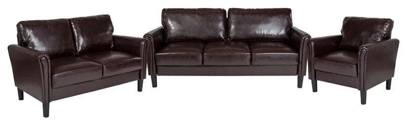 Bari 3 Piece Upholstered Set in Brown LeatherSoft