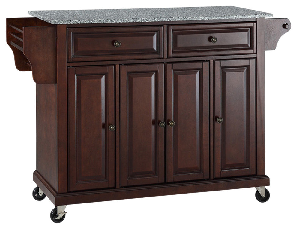 Solid Granite Top Kitchen Cart, Island, Vintage Mahogany Finish - Pot Racks Plus