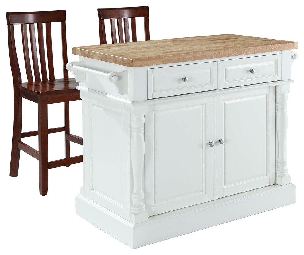 "Butcher Block Top Kitchen Island, White With 24"" Black School House Stools - Pot Racks Plus"