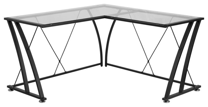 Glass L-Shape Computer Desk with Black Metal Frame