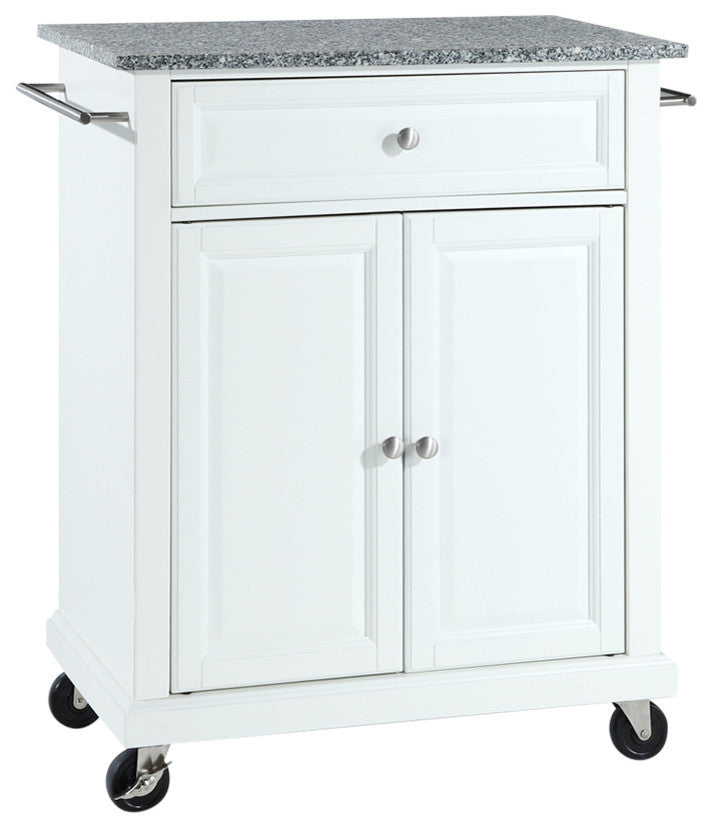 Solid Granite Top Portable Kitchen Cart, Island, White Finish - Pot Racks Plus