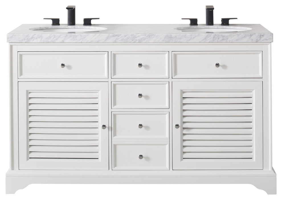 Magnolia 60 Inch White Double Sink Bathroom Vanity - Pot Racks Plus