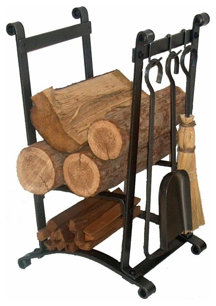 Premier Compact Curved Log Rack With Tools - Pot Racks Plus
