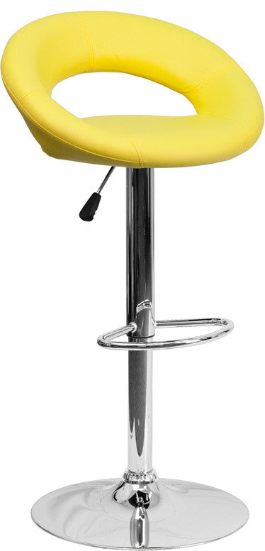 Contemporary Yellow Vinyl Rounded Orbit-Style Back Adjustable Height Barstool with Chrome Base