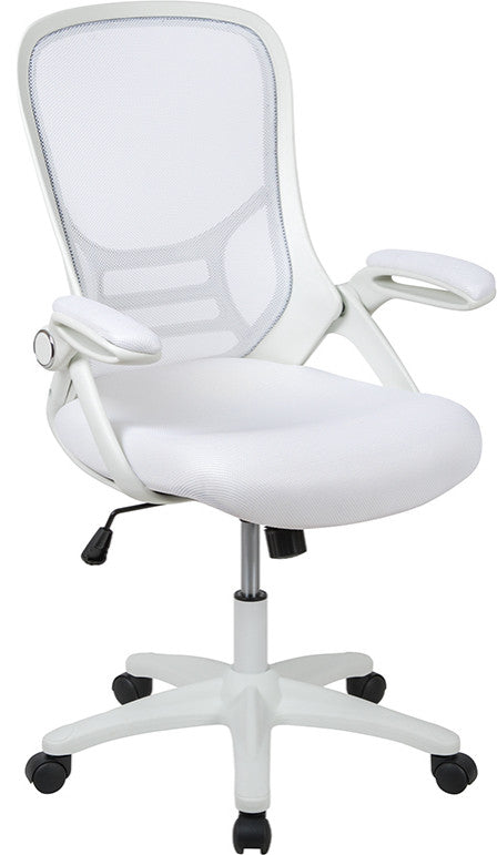 High Back White Mesh Ergonomic Swivel Office Chair with White Frame and Flip-up Arms