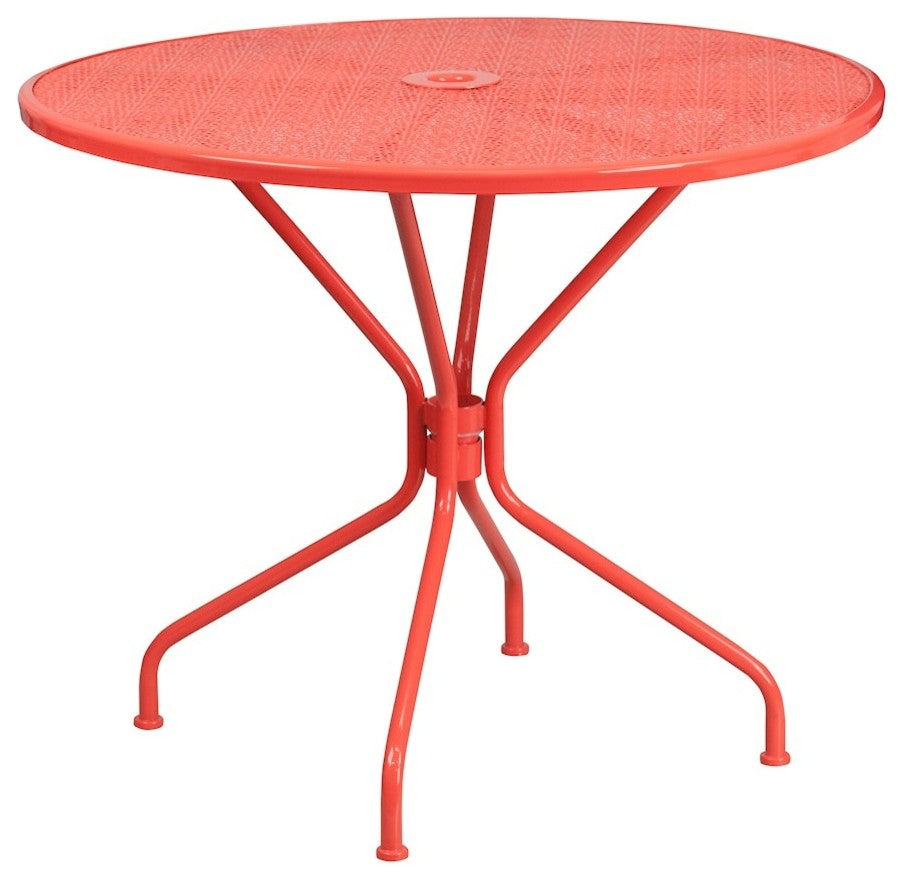 "Commercial Grade 35.25"" Round Coral Indoor-Outdoor Steel Patio Table"