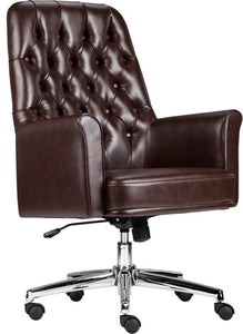 Mid-Back Traditional Tufted Brown LeatherSoft Executive Swivel Office Chair with Arms