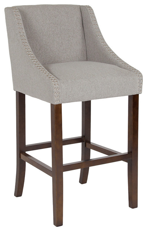 "Flash Furniture Carmel Series 30"" High Transitional Tufted Walnut Barstool with Accent Nail Trim in Light Gray Fabric - Pot Racks Plus"