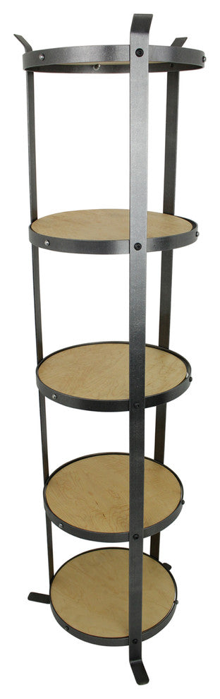 5-Tier Round Designer Stand Hammered Steel, Unassembled - Pot Racks Plus
