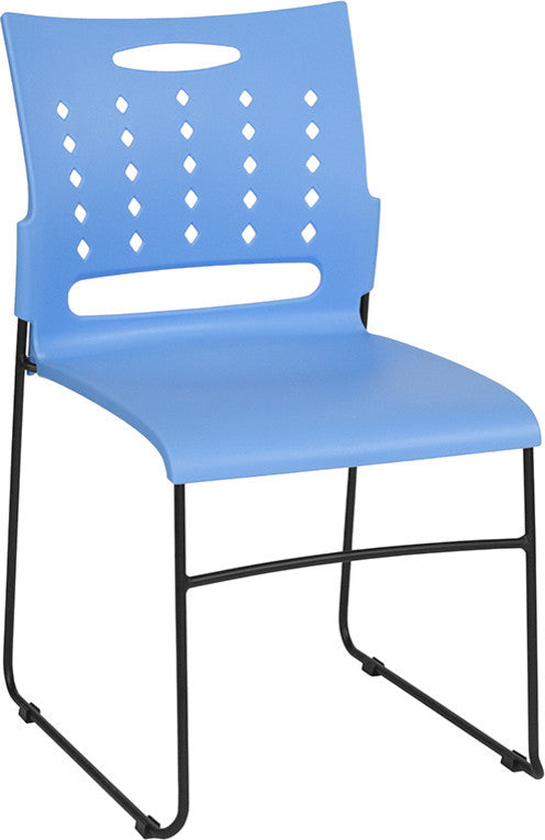 HERCULES Series 881 lb. Capacity Blue Sled Base Stack Chair with Air-Vent Back