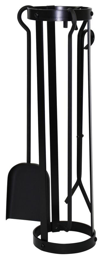 Indoor/Outdoor Round Fireplace Tool Set, Black Steel - Pot Racks Plus