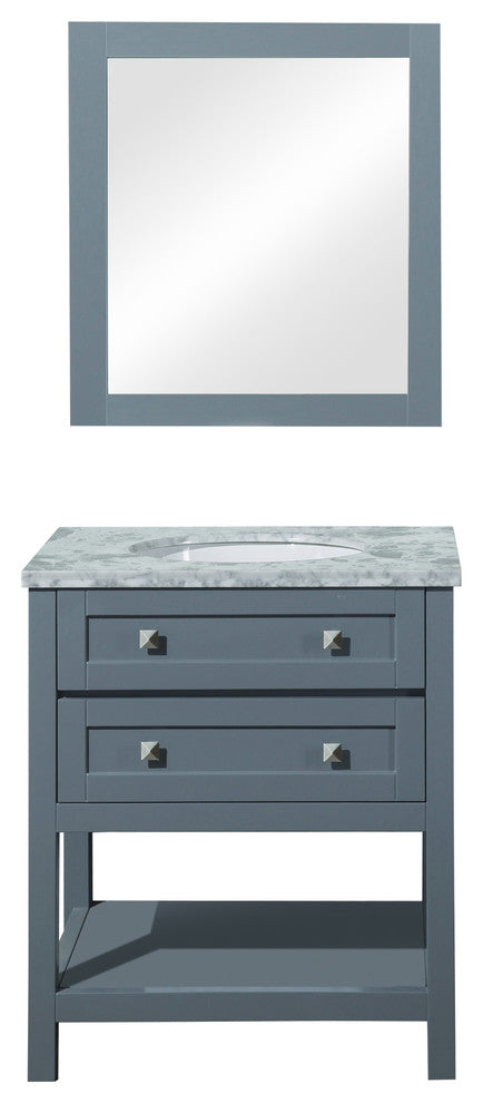 "Marla Sink Bathroom Vanity With Mirror, Gray, 48"" - Pot Racks Plus"