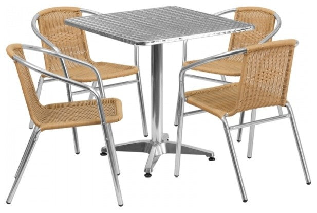 27.5'' Square Aluminum Indoor-Outdoor Table Set with 4 Beige Rattan Chairs