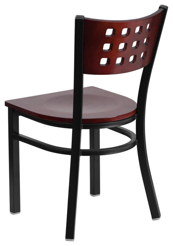 HERCULES Series Black Cutout Back Metal Restaurant Chair - Mahogany Wood Back & Seat