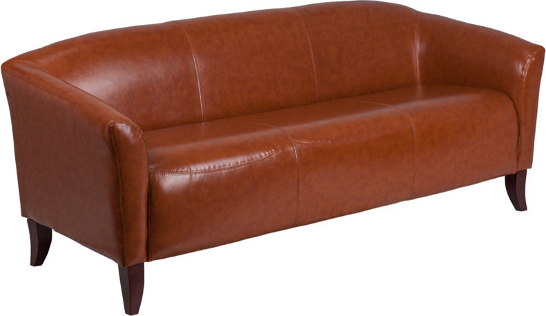 Flash Furniture   HERCULES Imperial Series Cognac LeatherSoft Sofa - Pot Racks Plus