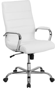 High Back Office Chair | White LeatherSoft Office Chair with Wheels and Arms