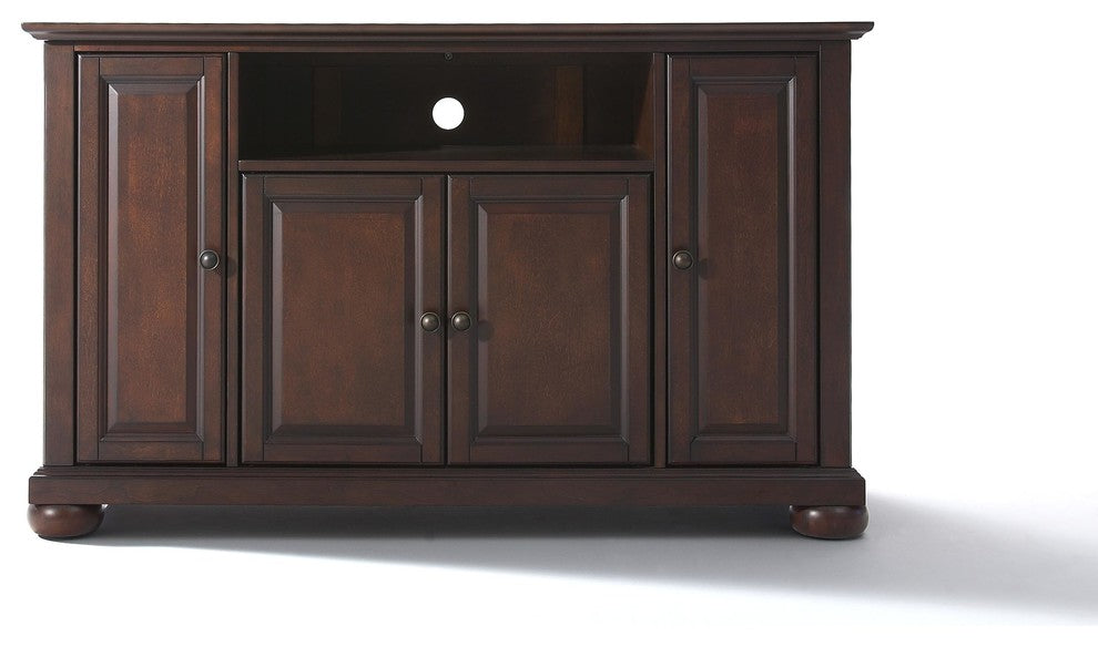 "Alexandria 48"" TV Stand, Vintage Mahogany Finish - Pot Racks Plus"