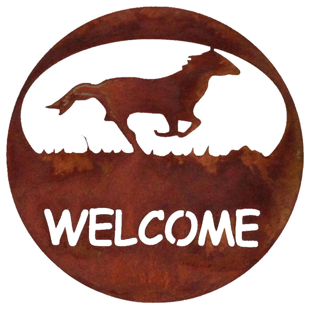 Horse Welcome Circle-Rust Patina - Pot Racks Plus