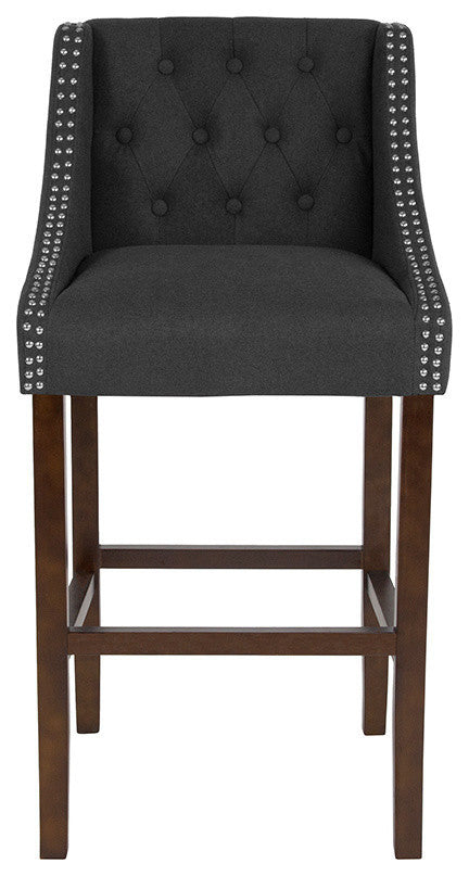 "Flash Furniture Carmel Series 30"" High Transitional Tufted Walnut Barstool with Accent Nail Trim in Charcoal Fabric - Pot Racks Plus"