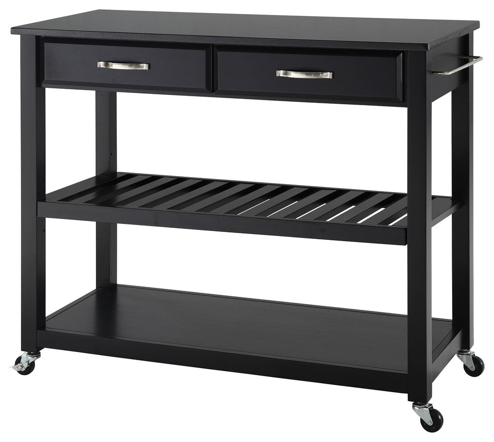Solid Black Granite Top Kitchen Cart, Island, Black - Pot Racks Plus