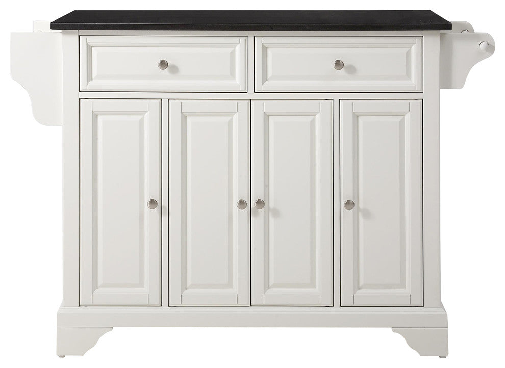 LaFayette Solid Black Granite Top Kitchen Island, White Finish - Pot Racks Plus