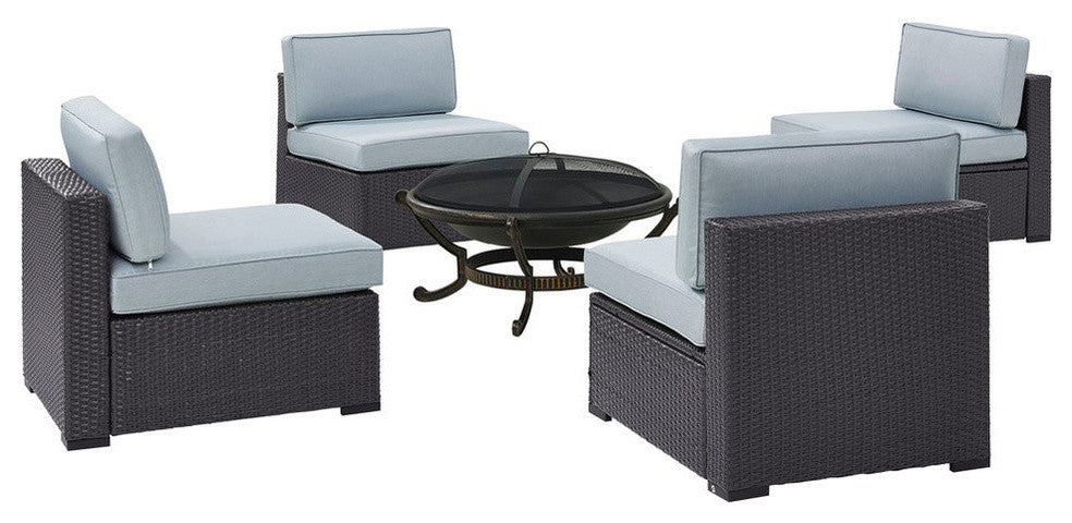 Biscayne 4 Person Wicker 4 Armless Chairs, Ashland Firepit, Mist - Pot Racks Plus