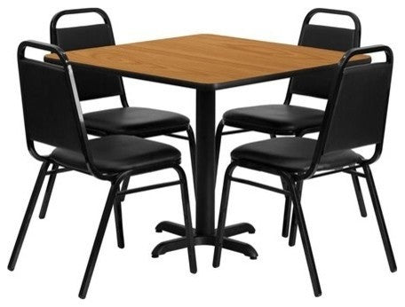 36'' Square Natural Laminate Table Set with X-Base and 4 Black Trapezoidal Back Banquet Chairs
