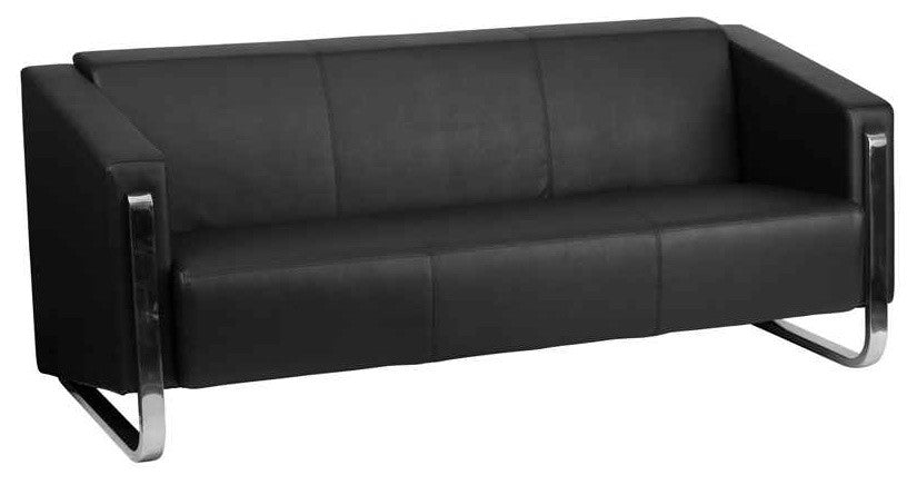 HERCULES Gallant Series Contemporary Black LeatherSoft Sofa with Stainless Steel Frame