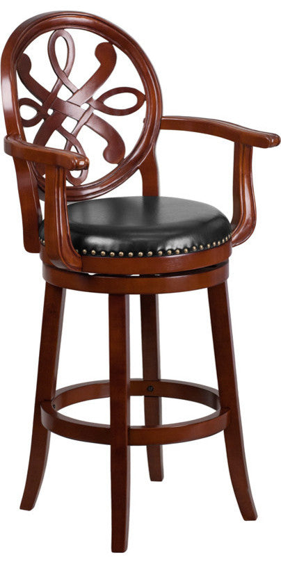 30'' High Cherry Wood Barstool with Arms, Carved Back and Black LeatherSoft Swivel Seat