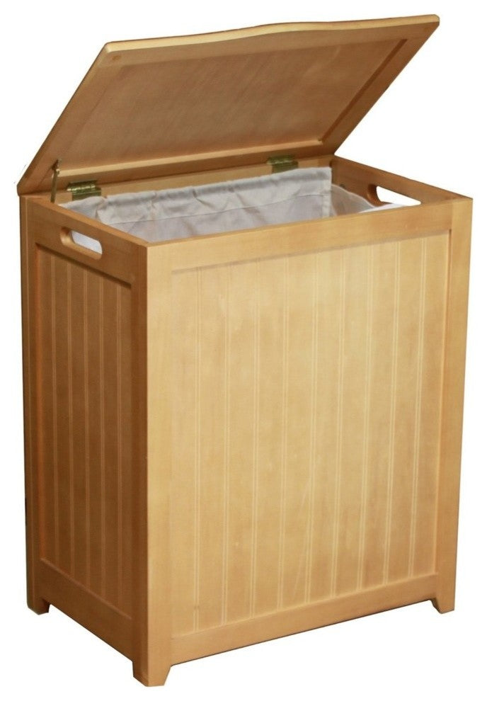 Rectangular Laundry Wood Hamper with Interior Bag, Natural - Pot Racks Plus