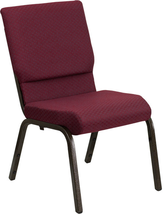 HERCULES Series 18.5''W Stacking Church Chair in Burgundy Patterned Fabric - Gold Vein Frame