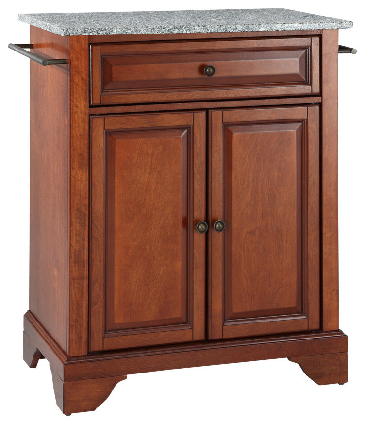 LaFayette Solid Granite Top Portable Kitchen Island, Classic Cherry Finish - Pot Racks Plus