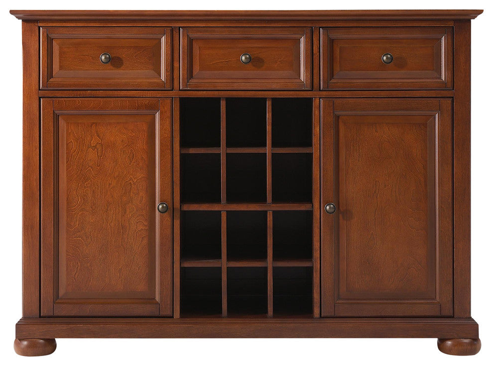 Alexandria Buffet Server-Sideboard Cabinet With Wine Storage, Classic Cherry F - Pot Racks Plus
