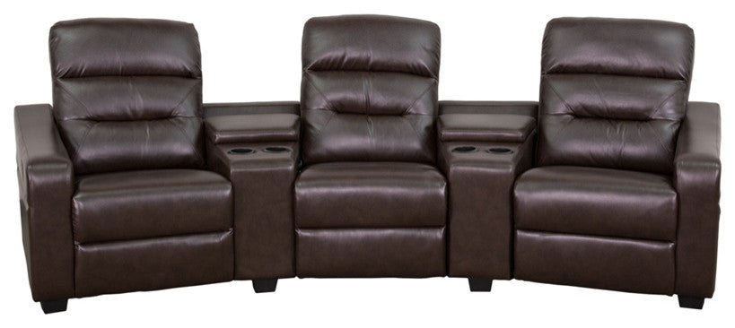 Flash Furniture   Theatre Seats | LeatherSoft Reclining Home Theatre Sectional Sofa - Pot Racks Plus