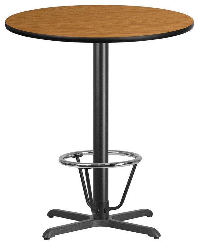 36'' Round Natural Laminate Table Top with 30'' x 30'' Bar Height Table Base and Foot Ring