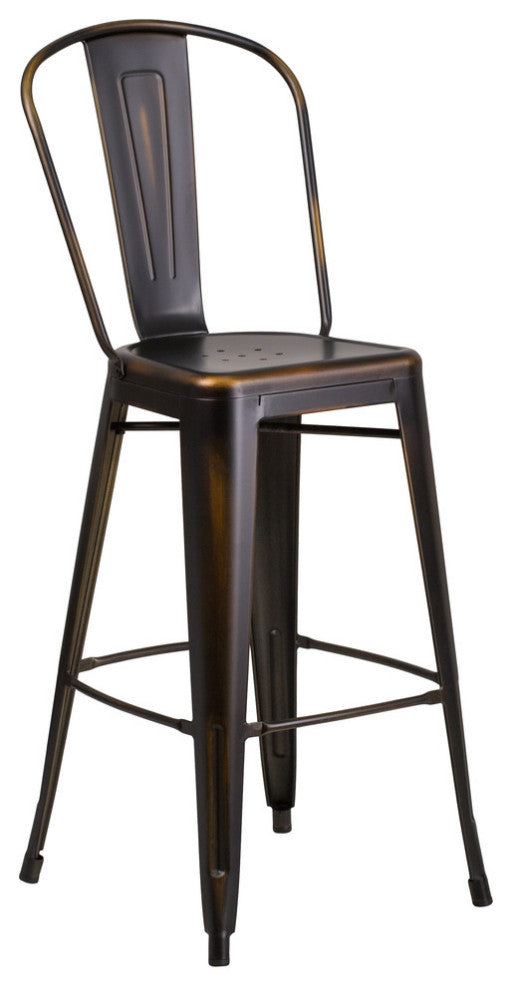 "Commercial Grade 30"" High Distressed Copper Metal Indoor-Outdoor Barstool with Back"