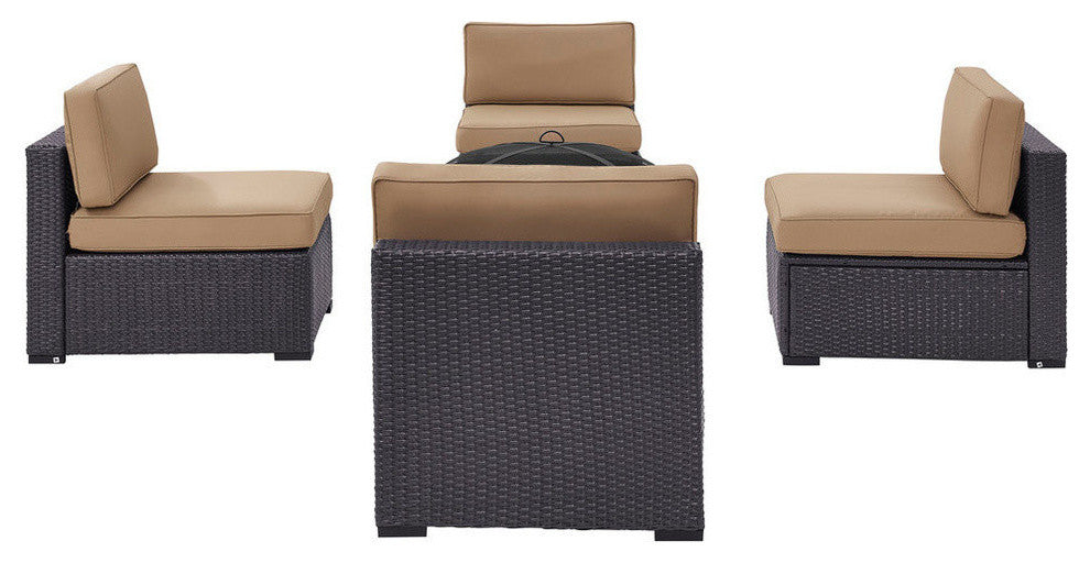 Biscayne 4 Person Wicker 4 Armless Chairs, Ashland Firepit, Mocha - Pot Racks Plus